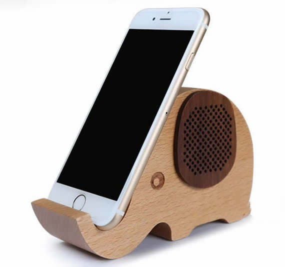Wooden Elephant Shaped Bluetooth Speaker Mobile Phone