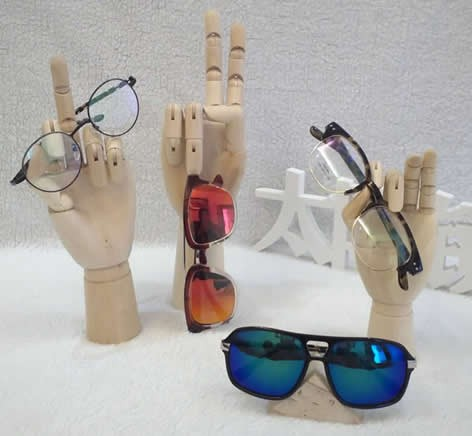 Wooden Hand Form Sunglasses Glasses Holder / Spectacle Display Stand