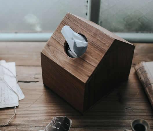 Black Walnut Wooden House Design Tissue Box