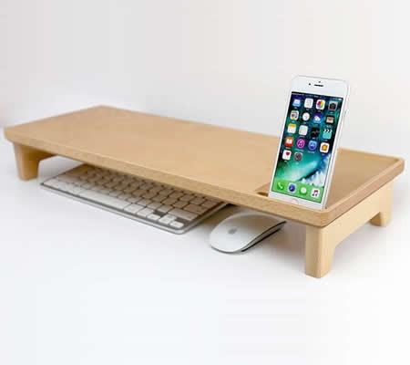 Wooden Imac Monitor Stand Riser Desktop Organizer Feelgift
