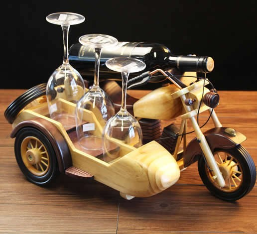 Wooden Motorcycle Wine Bottle Holder