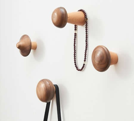 Wooden Mushroom Shaped Decorative Wall Hook,4pcs