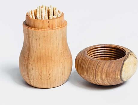 Wooden Mushroom Toothpick Holder