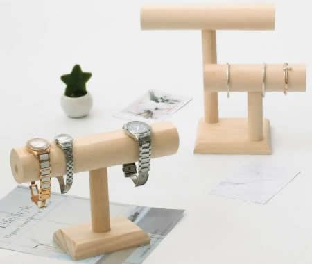 Wooden Necklace Bracelet Wristwatch Jewelry Display Stand Organizer