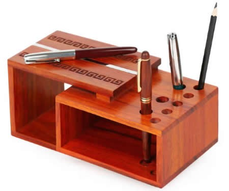 Rosewood Wooden Office Home Pen Pencil Holder Desk Stationery Storage Box Collection Caddy For Pen / Pencil / Cell Phone / Remote Control