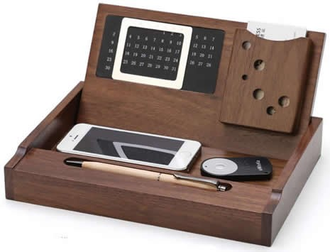 Wooden Multi-function Desk Stationery Organizer Storage Box With Perpetual Calendar  sc 1 st  FeelGift & Wooden Multi-function Desk Stationery Organizer Storage Box With ...