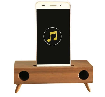 Wooden Phone Sound Amplifier Trumpet Holder Amplifier Loudspeaker