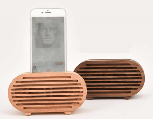 Wooden Radio Style Cell Phone Charging Dock, Sound ...