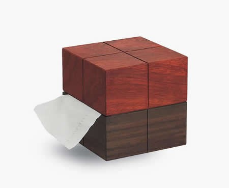 Wooden Rubik's Cube Desk Roll Paper Holder