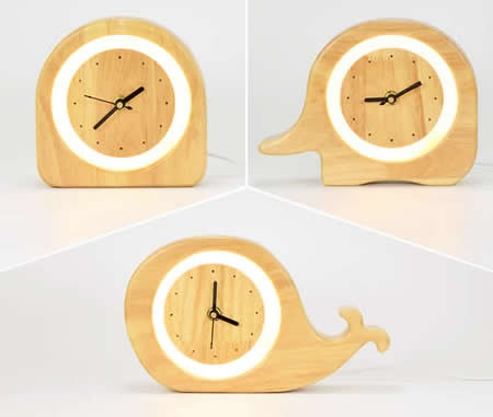 Wooden  Desk Alarm Clock with Nightlight and USB Power Supply