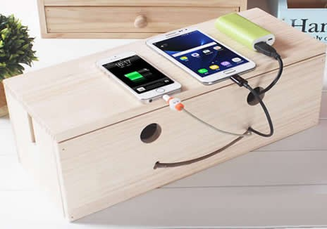 Wooden  Smiley Face Wire & Cable Organizers Storage Box