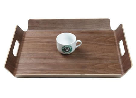 Wooden Black Walnut Square Fruit Cake Snack Serving Tray Plate with Handles