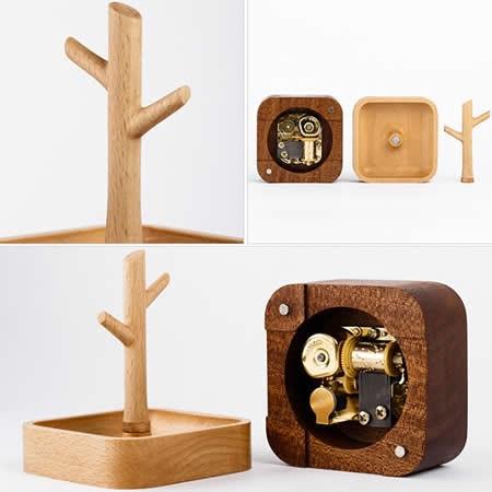 Wooden Tree Music Box Bracelet Necklace Jewelry Organizer Hooks Rack Stand