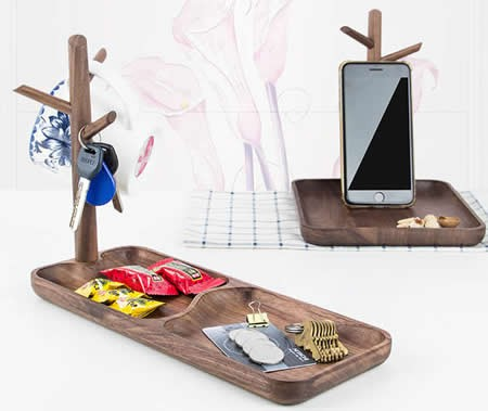 Wooden Tree Ring Bracelet Key Holder Jewelry Dish  Display Organizer Trinket Tray