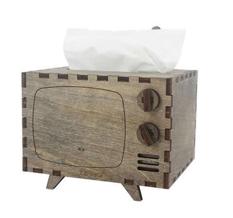 Wooden TV Tissue Box Cover Decorative Tissue Box Holder