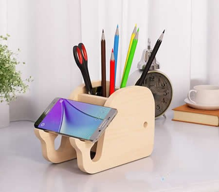 Wooden Whale & Elephant Pen Holder Phone Holder Stand