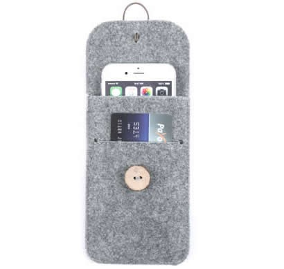 Wool Felt Protective Sleeve Bag Pocket Pouch Case with Card Slot for iPhone Xs Max/XS/X/8/8 Plus/6/6s/7