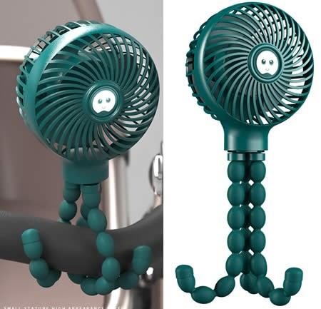 Creative Can Be Fixed At Will Green Octopus Fan Charging Carry Small Fan Outdoors