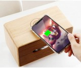 Brief wooden tissue box with mobile phone wireless charging
