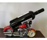 Creative motorcycle shape resin wine bottle wine holder with clock
