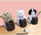 Cute realistic cat and dog office learning decoration pen holder