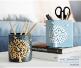 Brief large tree and bird desktop decoration storage art pen holder