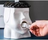 Funny abstract art big mouth ceramic tissue box desktop decoration