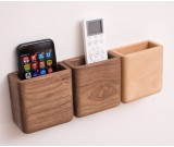 Creative wooden wall-mounted remote control phone storage box