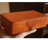 Classic Top Layer Cowhide Mini Suitcase Bank Card Organizer Wallet Pencil Case Storage Bag