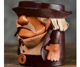 Funny Bearded Old Man Handmade Cowhide Leather Organize Pen Holder