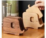 Creative Wooden Elephant Cup Coaster Wood Kitchen Insulation Mat Phone Holder