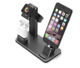Aluminum Apple Watch Charging Stand AirPods Stand Charging Docks Holder for Apple Watch Series 3/2/1/ AirPods/ iPhone X/8/8Plus/7/7 Plus /6S /6S Plus/ iPad