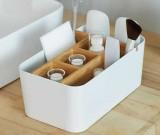 Bamboo Multifunction Office Supplies Storage Box Remote Control Holder Desk Organizer