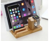 Bamboo Wood Charging Stand Bracket Docking Station For Apple Watch & iPhone
