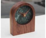 Black Walnut Wood Marble Desk Clock