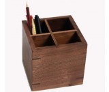 Black walnut Wooden 4 Compartments Desktop Storage Organizer Pen Pencil Holder