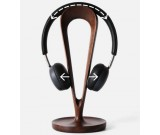 Black Walnut Wooden Headphone Stand Hanger with Cable Plate