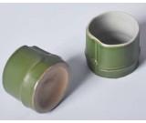 Ceramic Green Bamboo Shape Water Mug,set of 4