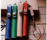 Cylinder Shaped Leather Single Pen ProtectiveCase with Neck Strap
