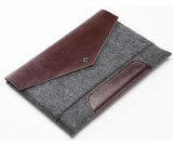 Leather and Wool Felt sleeve case for Apple MacBook