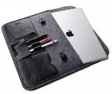 "Gray Felt Case Leather Front Bag Magnetic Button Sleeve for Apple 12""MacBook /13.3"" MacBook Pro"