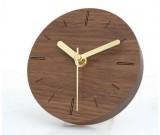 5 inches Handmade Black Walnut Wood Round  Silent Desk  Clock