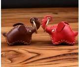 Handmade Genuine Leather Elephant Style Keychain Key Ring, 2 Piece Set