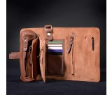 Handmade Genuine leather Multi Purpose Travel Organizer Roll for Credit card/cell phone/ Wallet/Key/Pen Pencil