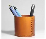 Handmade  Genuine Leather  Round Pens Pencils Holder Desk Organizer Office Desk Accessories Container Box