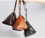 Handmade Leather Key Purse Earphone Storage Triangle Bag