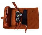 Handmade Leather Wallet Roll Up Case Pencil Pen Case Hoder Phone Bag