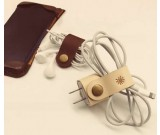 Leather Wall Plug Protect  Case  with Cable Winder for Apple Power Adaptor ,2pcs