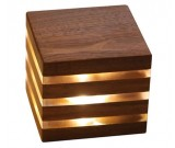 Modern Style Rechargeable Wooden Cube Table Lamp