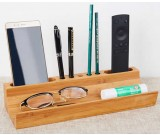 Natural Bamboo Desktop Pen Pencil Holder Mobile Phone Stand Desk Organizer for Office, School
